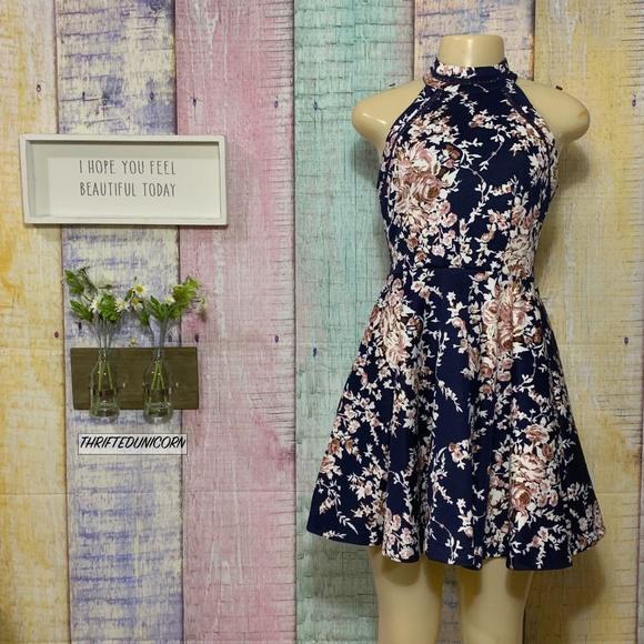 22f56ed485f7 B Darlin Dresses & Skirts - Floral Halter Neck Crochet Trim Fit & Flare  Dress